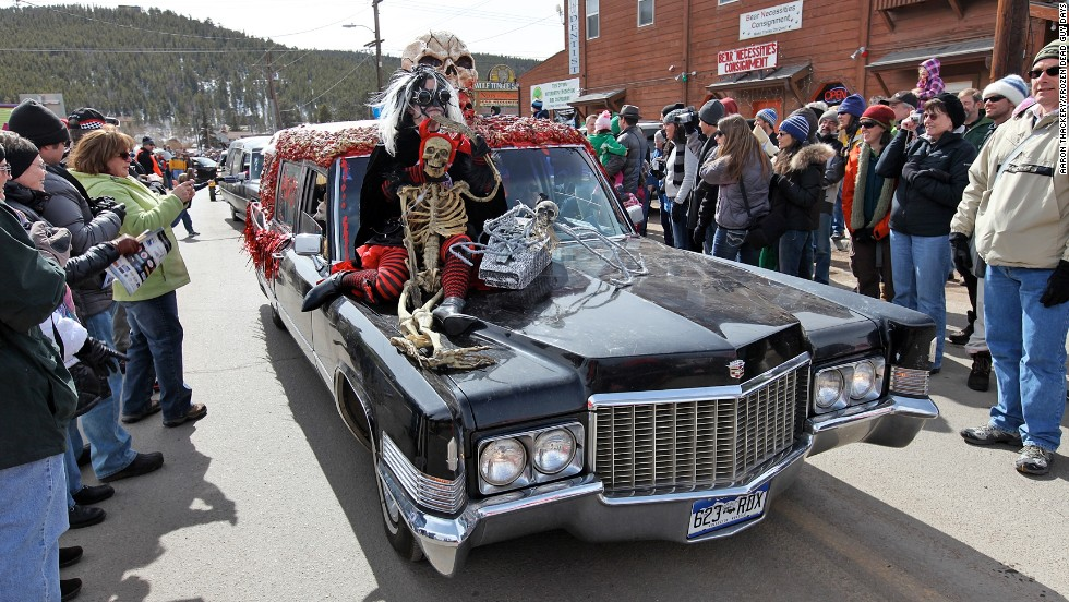 The town of Nederland, Colorado holds an annual three-day festival in honor of their most famous resident: the cryogenically frozen corpse of Bredo Morstøl. The hearse parade (pictured) is a highlight of the event.