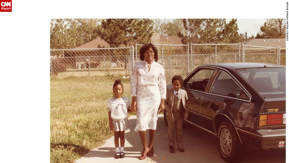 """Growing up in Jackson, Mississippi, <a href=""""http://ireport.cnn.com/docs/DOC-1031632"""">William Patrick Butler</a> mostly remembers how much he and his sister loved watching """"Star Wars"""" over and over again on HBO whenever it came on. Here they pose in their church outfits beside Ma's old Chevrolet Cavalier, which was replaced in 1983 with a more fun red Pontiac Grand Prix."""