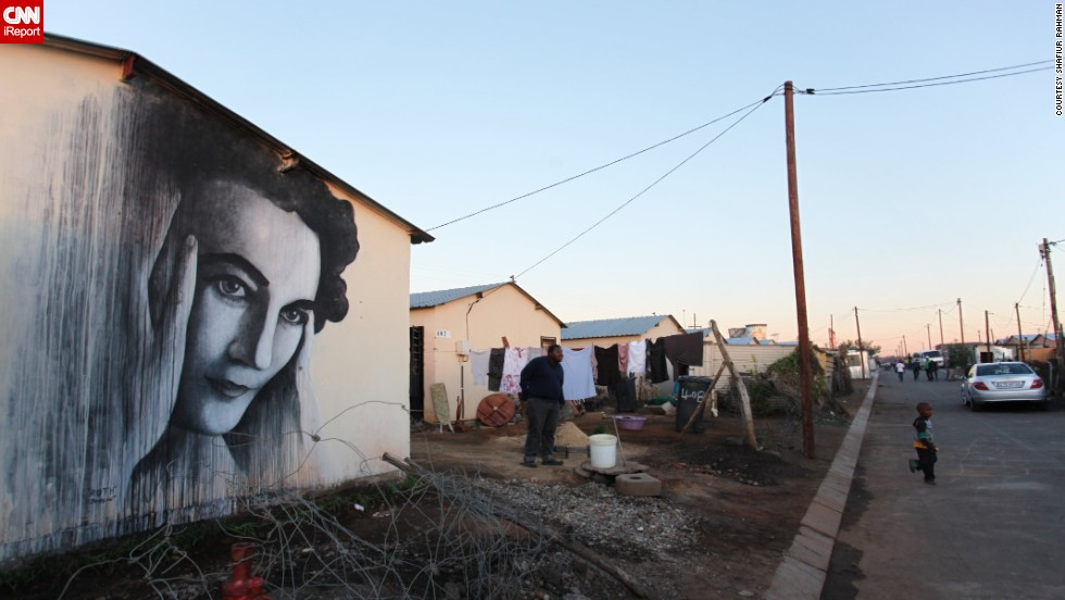 "Documentary-maker <a href=""http://ireport.cnn.com/docs/DOC-1015372"" target=""_blank"">Shafiur Rahman</a> asked British graffiti artist Ben Slow to paint an image of anti-apartheid activist Ruth First on the side of a home in Soweto last year. ""Street art, I believe, has an essentially political manifesto,"" Rahman said. ""It amounts to an act of defiance. In this instance it is an act of commemoration."""