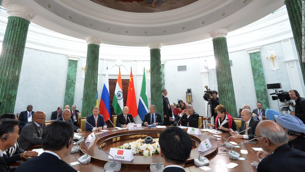 Delegration heads from the BRICS group of nations -- Brazil, Russia, India, China and South Africa -- meet during the G-20 summit on Thursday, September 5, in St. Petersburg, Russia.