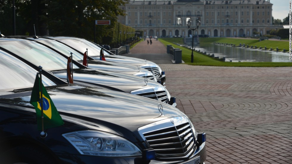 A rows of cars waits outside the meeting of the BRICS delegation heads on September 5.