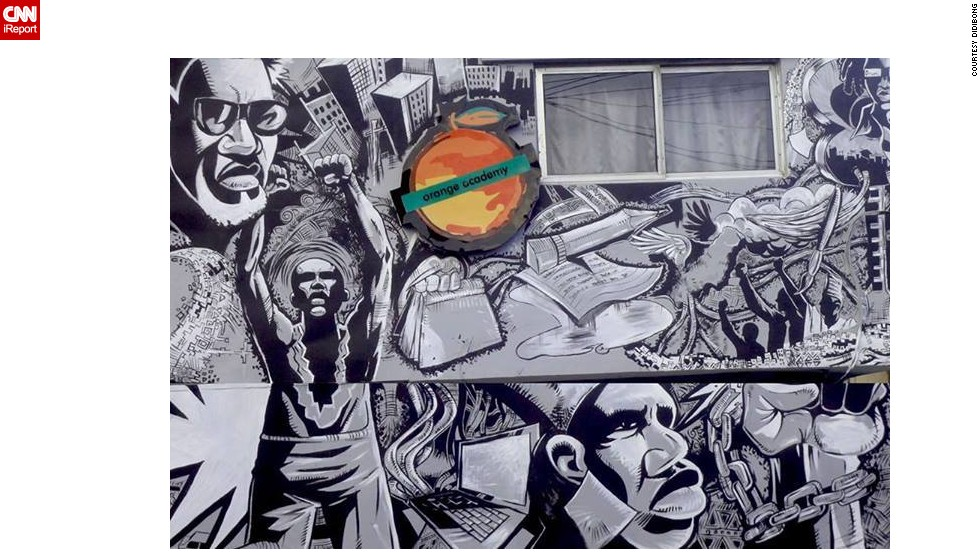 """Nigerian iReporter <a href=""""http://ireport.cnn.com/docs/DOC-1016482"""" target=""""_blank"""">Edidiong Uwemakpan </a>snapped this image of a mural on the offices of Orange Academy, a brand advertising college in Lagos, Nigeria. The artwork, done by local artist Kimson, was commissioned by the college to inspire its students."""