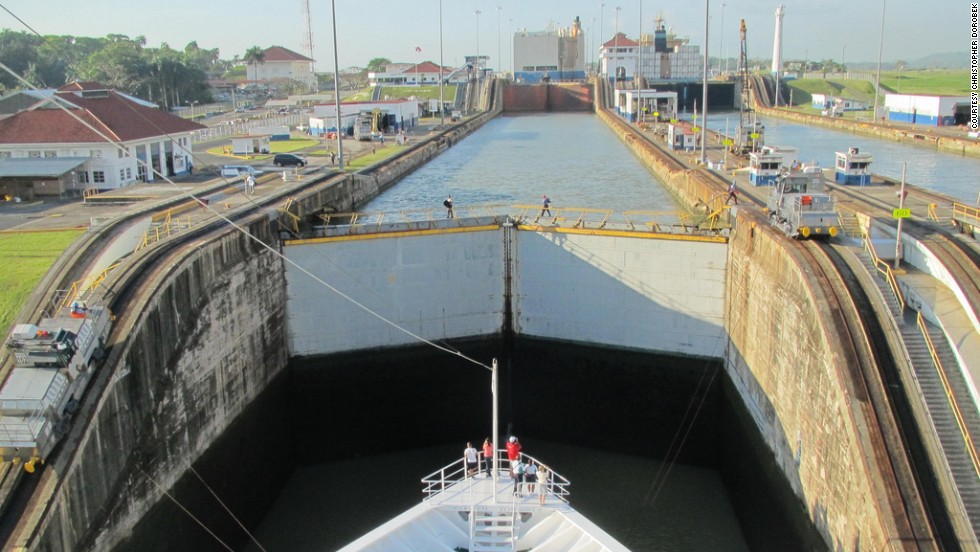 The series of locks on the Panama Canal are legendary -- ships are lifted 85 feet and put down again. You'll need a reservation to get through these doors.