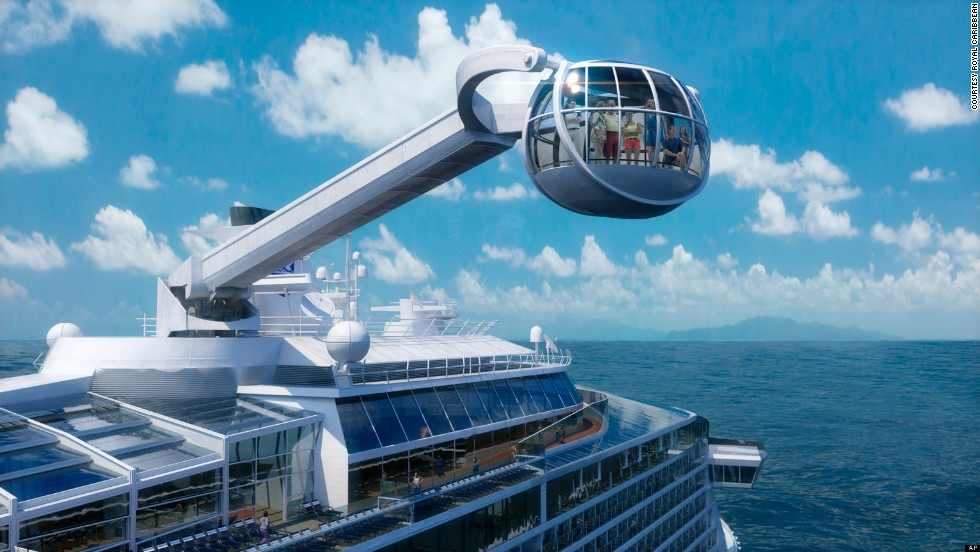 Royal Caribbean's anticipated new ship, <em>Quantum of the Seas</em>, will be unveiled in November 2014. With this glass observation capsule (300 feet above the water), bumper cars and surfwave simulator, it hopes to set a new standard for cruise adventure.