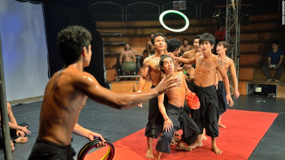 "A spirit of unity among performers is evident, whether during a dramatic scene or a juggling routine, such as this one from ""Eclipse."" Jean Christophe, one of the co-directors of Phare Cambodian Circus, says a sense of solidarity is necessary in order for such a production to succeed."