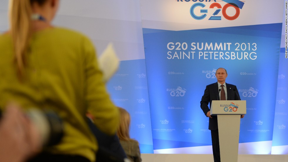 Russian President Vladimir Putin faces the media during a press conference on the outcomes of the G-20 Leaders' Summit on September 6.