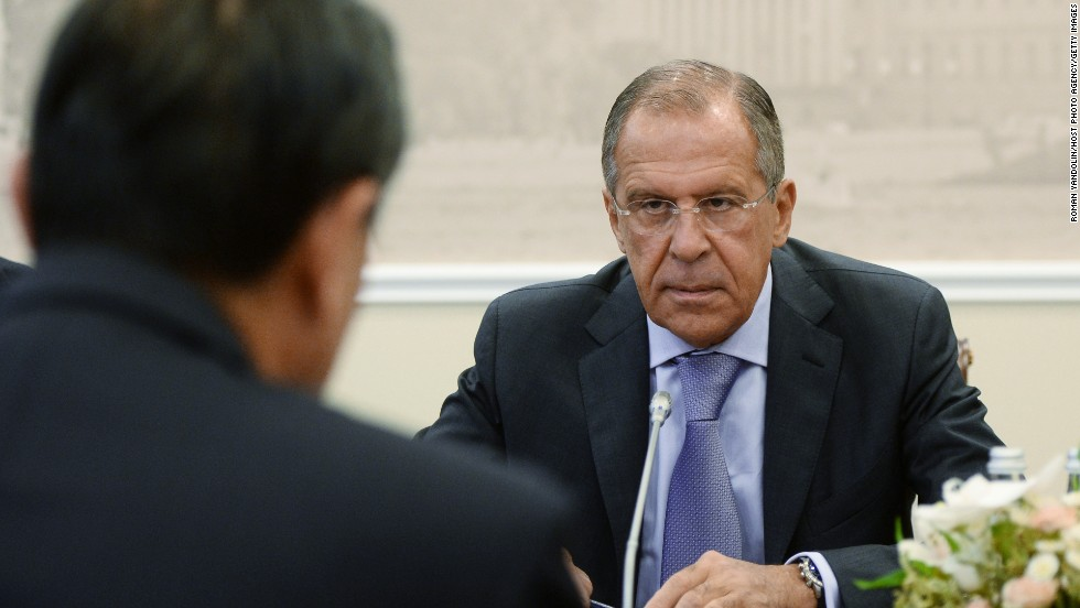 Sergey Lavrov, Minister of Foreign Affairs of the Russian Federation, attends a meeting at the G-20 Summit at the Constantine Palace on September 6.