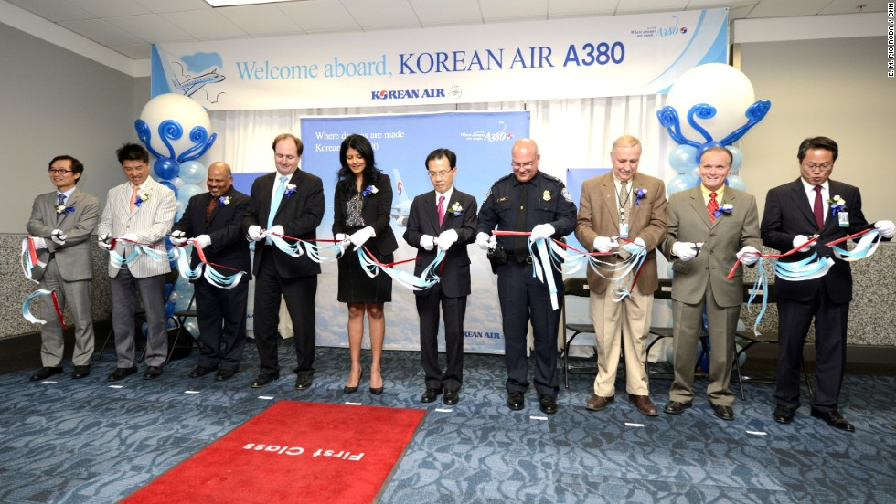 "Officials from Korean Airlines, the City of Atlanta, and the airport cut a ribbon to inaugurate the A380 service. The airport <a href=""http://www.atlanta-airport.com/docs/Airport/PFCAppl13.pdf"" target=""_blank"">spent about $30 million in modifications </a>to make room for the giant plane. Atlanta is now the seventh U.S. airport that can accommodate the Superjumbo."