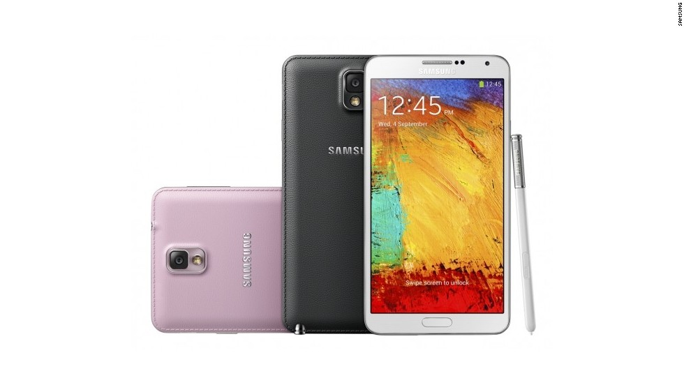 "The Galaxy Note 3 is the third-generation of the Note ""phablet"" with a 1920 x 1080 5.7in screen, eight-core processor and a 13MP camera with 3x optical zoom."