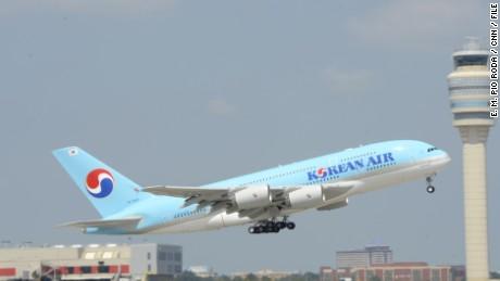 Korean Airlines flight 36 takes off from Hartsfield-Jackson Atlanta International Airport on Friday September 6, 2013.