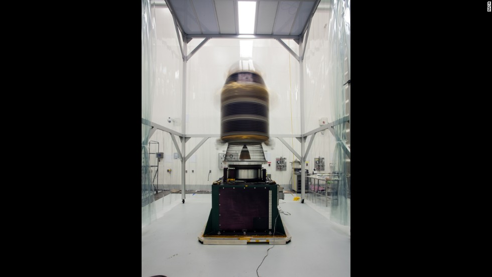 During final preparations for launch, engineers mount the spacecraft onto a spin table and rotate it at high speeds to make sure it's perfectly balanced for flight.
