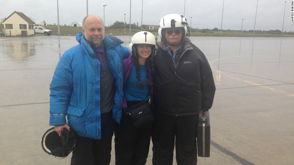 Paskievitch, Lopez and Egli are all smiles after they were picked up Friday by the Alaska Air Guard Rescue team and return to King Salmon. The three stayed in sleeping bags inside the helicopter except to answer nature's calls and shoot a flare at the request of the rescuers