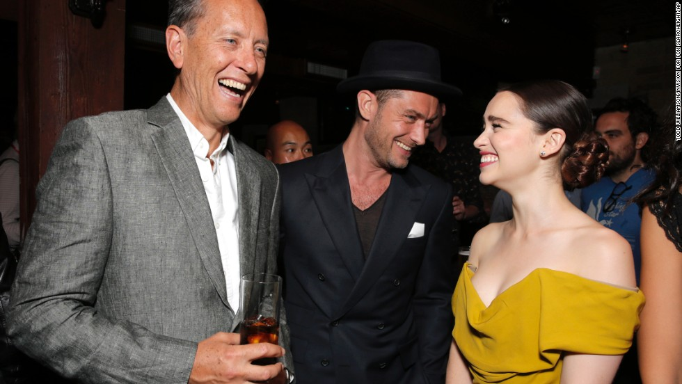 "Actors Richard Grant, from left, Jude Law and Emilia Clarke attend the party for Fox Searchlight's Premiere of ""Dom Hemingway"" on September 8."