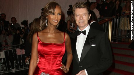 NEW YORK - MAY 05: Model Iman and musician David Bowie arrives to the Metropolitan Museum of Art Costume Institute Gala, Superheroes: Fashion and Fantasy, held at the Metropolitan Museum of Art on May 5, 2008 in New York City. (Photo by Andrew H. Walker/Getty Images)