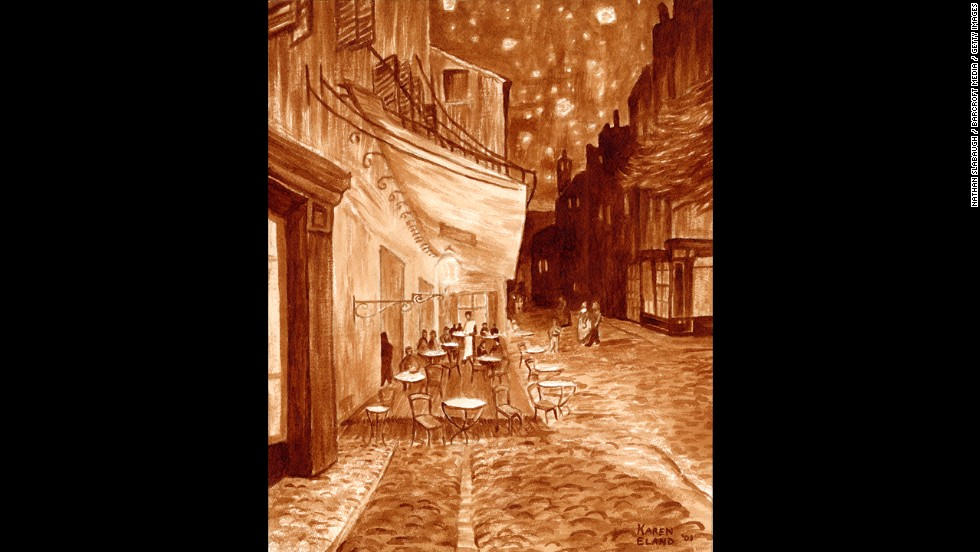 "Using coffee and a watercolor paintbrush, artist Karen Eland created this version of van Gogh's ""Cafe Terrace at Night."""
