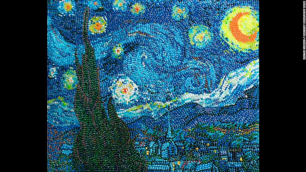 """Starry Night"" by van Gogh recreated by Kristen Cumings using jelly beans."