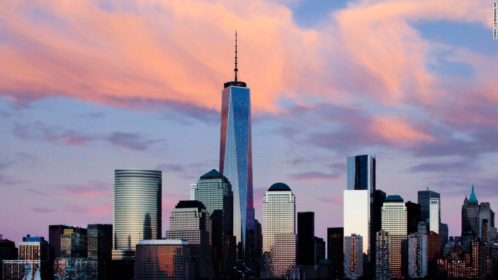 One World Trade Center rises above the lower Manhattan skyline in New York.