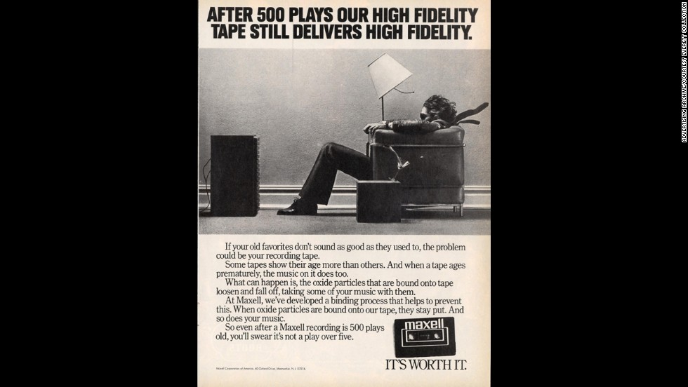 Maxell, another tape manufacturer, promoted its fidelity through an iconic photograph of a man sitting in a chair, literally being blown away by the quality (and probably the loudness) of his taped music. For years, makers such as Maxell, TDK and Denon touted the abilities of their tapes and the magnetic substances that coated them.