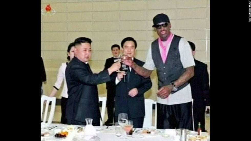 Rodman and Kim share a toast in North Korea in February.