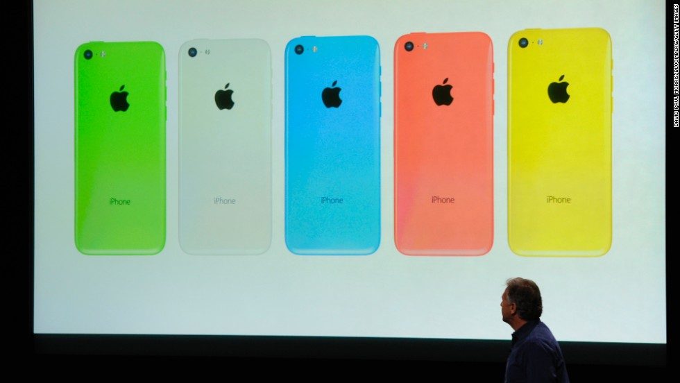 Unlike current iPhones, the new iPhone 5C will come in bright colors such as pink, green and yellow. It also features a 4-inch high-res display and an 8 megapixel camera, plus a snappy A6 processing chip.
