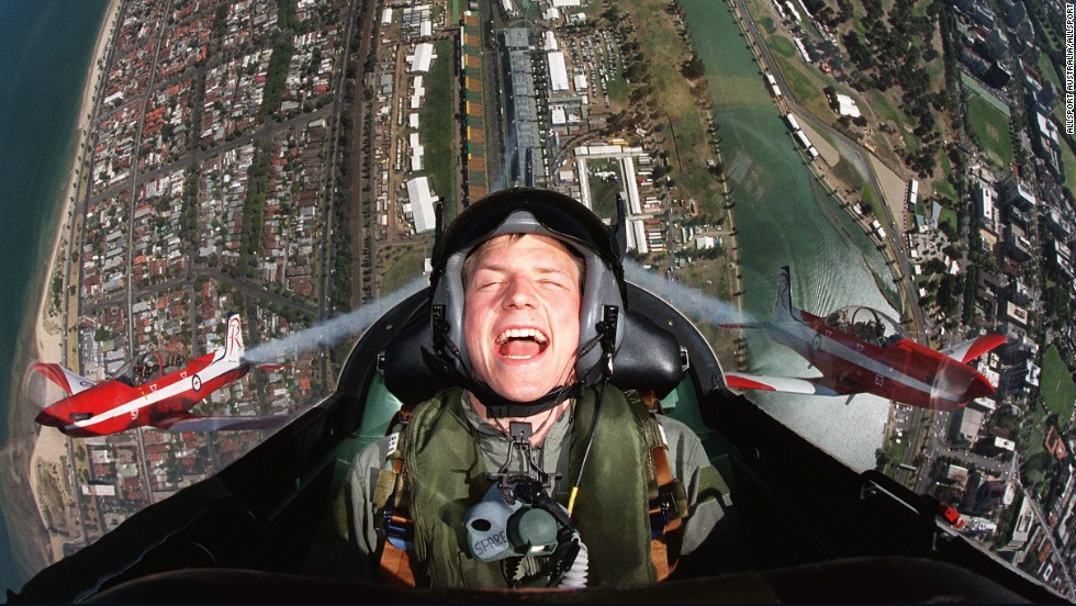 Raikkonen's high-flying F1 career began in 2001 with Sauber. Here the team treats him to a ride with the Royal Australian Air Force before his debut in the  Australian Grand Prix.