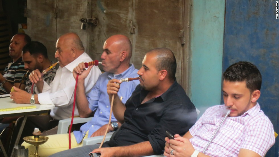 Men at a hookah bar in Jerusalem's Old City.