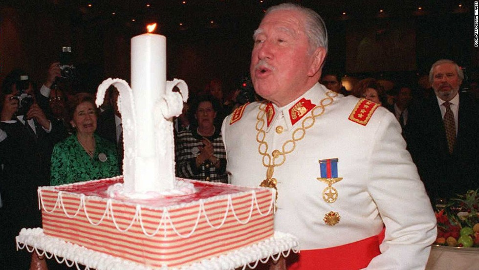 Pinochet celebrates his 80th birthday on November 26, 1995 in Santiago. Hundreds of Chileans disappeared during the 17 years that Pinochet ruled Chile.
