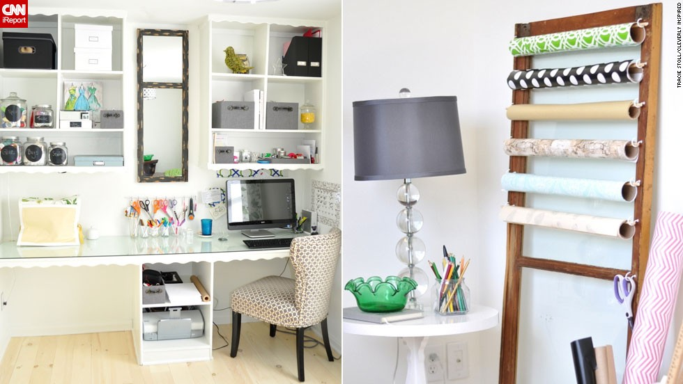 "<a href=""http://ireport.cnn.com/docs/DOC-1029190"">Tracie Stoll</a>'s craft room and office makes her work tools the <a href=""www.cleverlyinspired.com "" target=""_blank"">decor focus</a>."