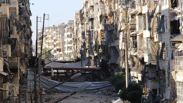A picture shows heavily damaged buildings in the Salah al-Din area of the northern Syrian city of Aleppo on September 8, 2013.