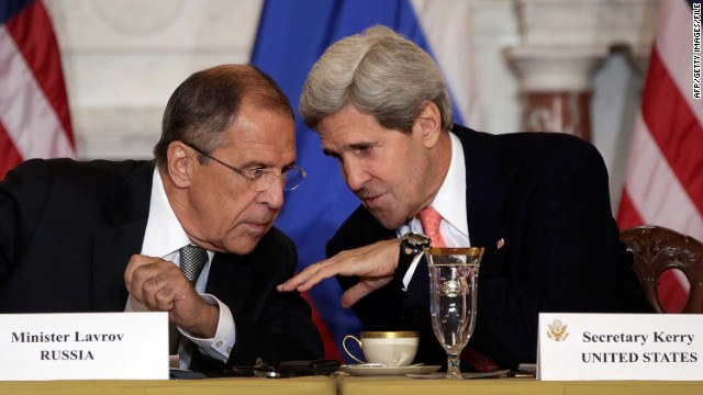 Russian Foreign Minister Sergey V. Lavrov (L) talks with U.S. Secretary of State John Kerry during a meeting at the U.S. State Department on August 9, 2013 in Washington, DC.