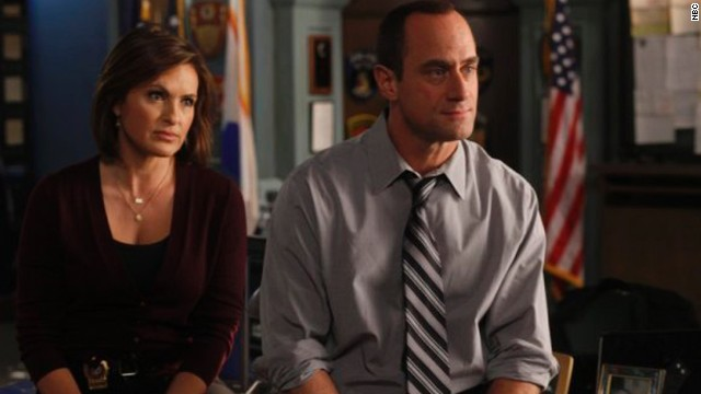 "Mariska Hargitay and Christopher Meloni portray partners Detective Olivia Benson and Detective Elliot Stabler on ""Law & Order: SVU."""