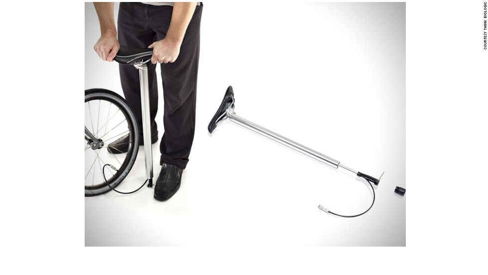 """Is it a seat? Is it a pump? Well, actually, it's both. This nifty bicycle seat from<a href=""""http://www.thinkbiologic.com/"""" target=""""_blank""""> Think Biologic </a>detaches easily to double up as a pump, so you never get caught on the road with a flat tyre again."""