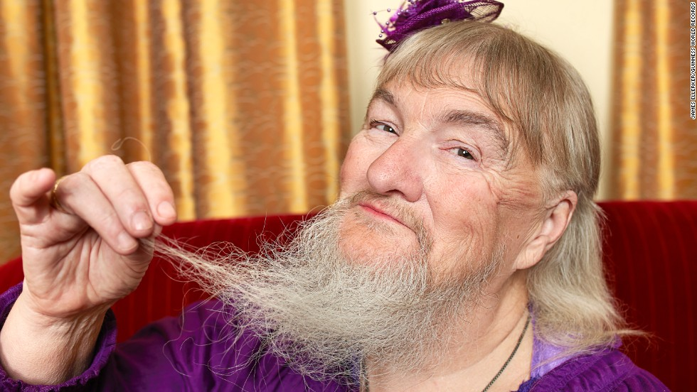 These record holders appear in the 2014 Guinness World Records Book, which was published on September 10.  The longest beard on a woman, belongs to Vivian Wheeler from the U.S.  The beard was measured at 10.04 inches (25.5 centimeters) from the follicle to the tip of hair on April 8, 2011.