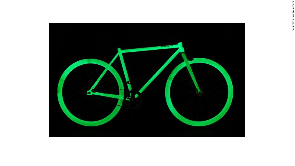 """With <a href=""""http://purefixcycles.com/"""" target=""""_blank"""">Pure Fix</a>'s glow-in-the-dark bike, nighttime riding just became less risky. The entire frame is charged by sunlight and will illuminate at night."""