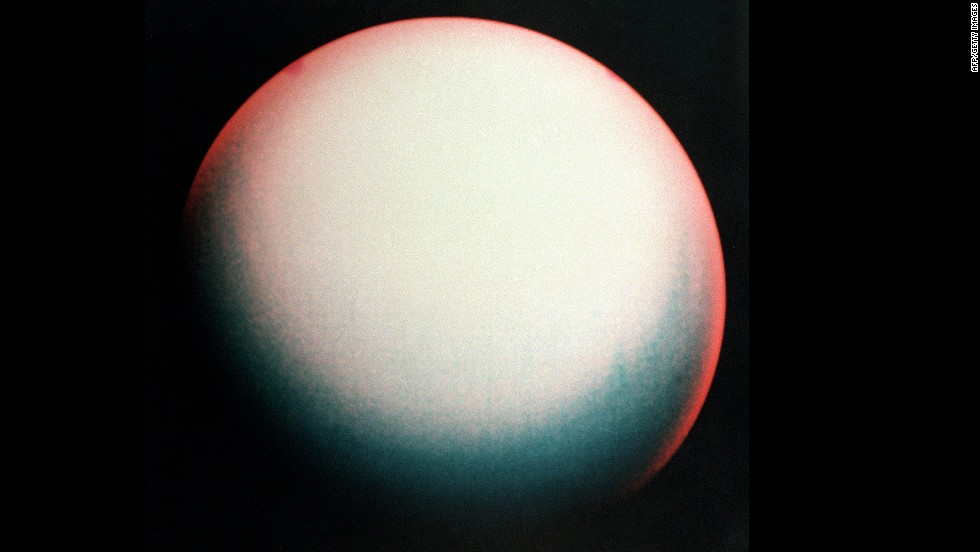 A false color view of Uranus made from images taken by Voyager 2.
