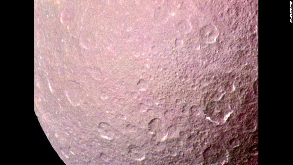 This image of Rhea, the largest airless satellite of Saturn, was acquired by the Voyager 1 spacecraft on November 11, 1980.