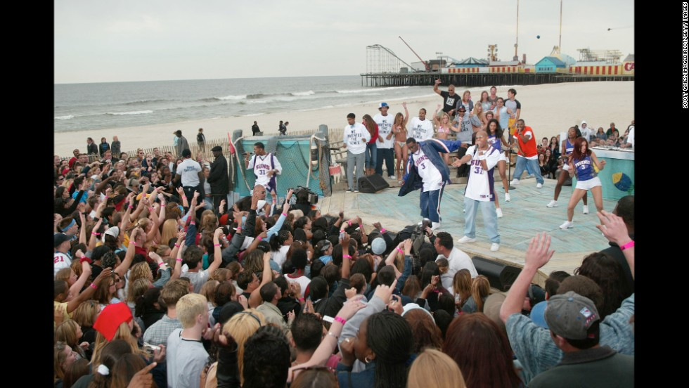 "Sean ""P. Diddy"" Combs performs during a taping for the opening of ""MTV Beach House"" in Seaside Heights in 2002."
