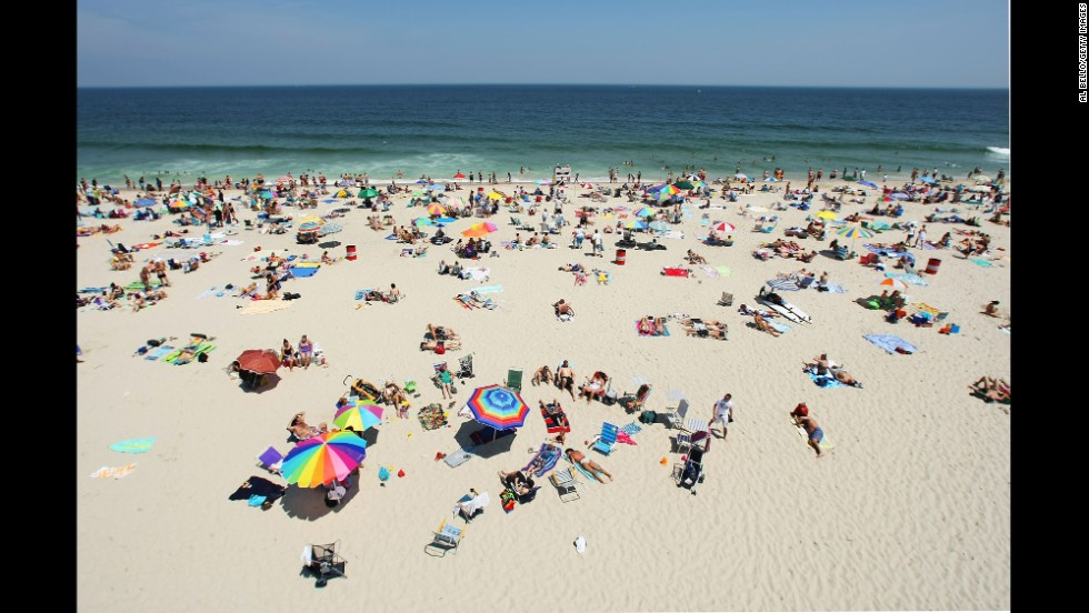 A view of the beach at the Association of Volleyball Professionals Seaside Heights Open on July 7, 2007, at Seaside Heights Beach.