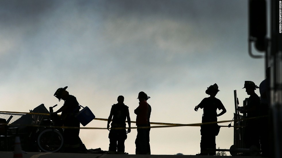 Firefighters at the scene of the fire in Seaside Heights, New Jersey, on September 13.
