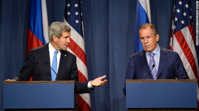 """US Secretary of State John Kerry (L) and Russian Foreign minister Sergey Lavrov (R) give a press conference in Geneva following their meeting on Syria's chemical weapons, on September 12, 2013.  Russian Foreign Minister Sergei Lavrov on September 12 said there was still """"a chance for peace"""" in Syria as he prepared for high-stakes talks with his US counterpart on a plan for Damascus to give up its chemical weapons. Before leaving for the talks in Geneva, Lavrov said during a visit to Kazakhstan that he was prepared to """"ensure Syria's adherence to the chemical weapon ban convention,"""" which would include the country's total disclosure of its chemical arms sites.           AFP PHOTO/PHILIPPE DESMAZES        (Photo credit should read PHILIPPE DESMAZES/AFP/Getty Images)"""