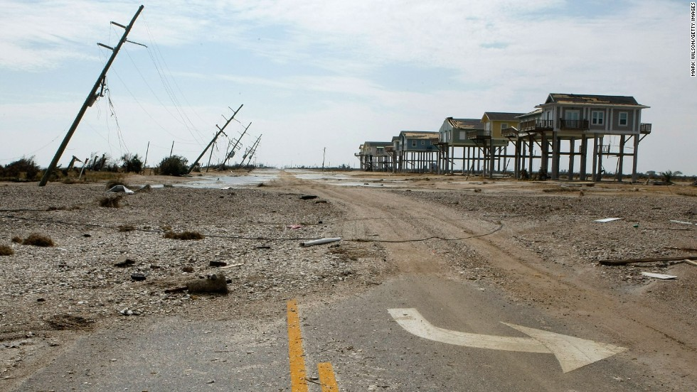 On September 13, 2008, Ike hit Galveston Island, Texas, as a Category 2 hurricane with maximum sustained winds of 110 mph. Little was left standing where this photo was taken in Gilchrist, Texas. Ike was blamed for scores of deaths in the Caribbean and in the United States. Property damage was estimated at $19.3 billion.