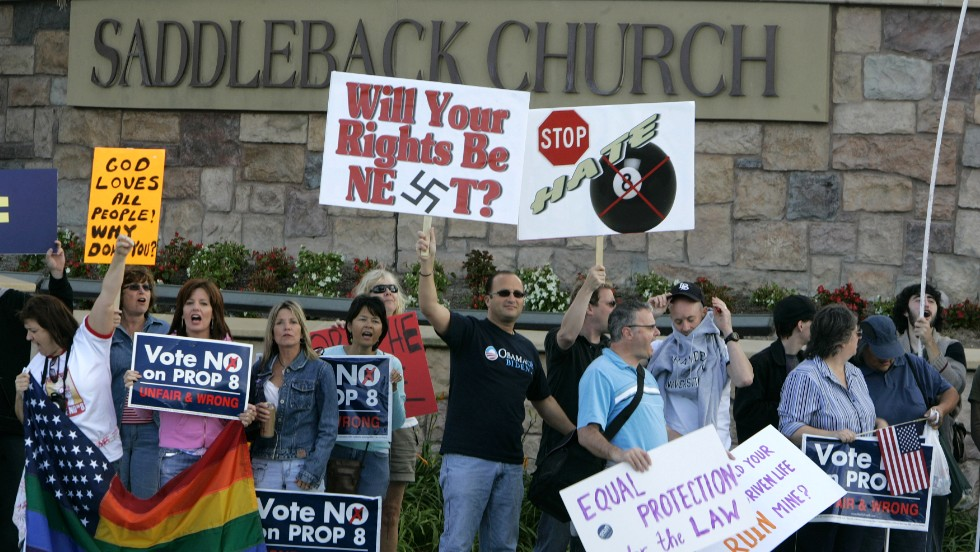 Hundreds of protesters gather outside Warren's Saddleback Church on October 19, 2008, after Warren came out in support of California's Proposition 8, denying same-sex couples the right to marry.