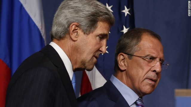 "US Secretary of State John Kerry (L) and Russian Foreign minister Sergei Lavrov arrive for a joint press conference in Geneva during their meeting on Syria's chemical weapons, on September 12, 2013. Russian Foreign Minister Sergei Lavrov on September 12 said there was still ""a chance for peace"" in Syria as he prepared for high-stakes talks with his US counterpart on a plan for Damascus to give up its chemical weapons. Before leaving for the talks in Geneva, Lavrov said during a visit to Kazakhstan that he was prepared to ""ensure Syria's adherence to the chemical weapon ban convention, "" which would include the country's total disclosure of its chemical arms sites."