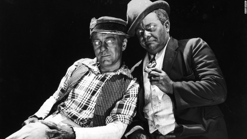 "Charles Correll (left) and Freeman Gosden appear in blackface makeup in a promotional portrait for the television series ""The Amos 'n' Andy Show,"" which was offensive to many African-Americans and others when it ran from 1951to 1953."