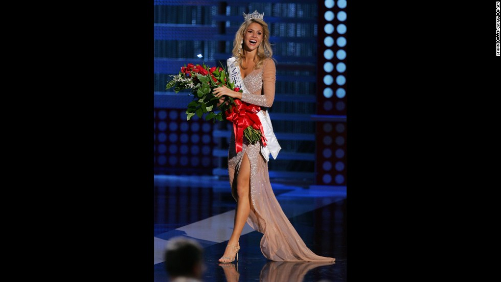 Kirsten Haglund, from Michigan, walks on stage after being crowned Miss America during the 2008 Miss America Pageant at the Planet Hollywood Resort & Casino in Las Vegas.