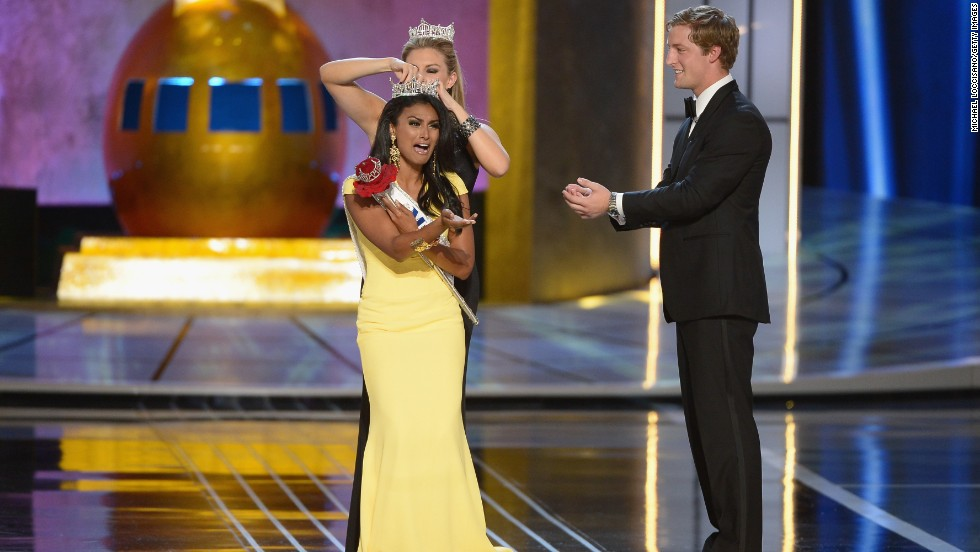 Miss America 2014 winner, Nina Davuluri, is crowned at Boardwalk Hall Arena on September 15, in Atlantic City. Davuluri, from New York, is the first woman of Indian descent to be crowned Miss America.