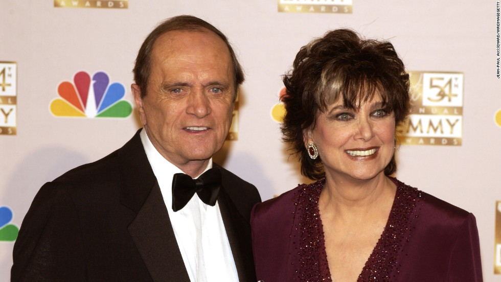 "Newhart and former ""The Bob Newhart Show"" co-star Suzanne Pleshette appear at the 54th Annual Emmy Awards in 2002. She died in 2008."