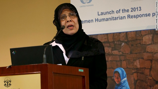 Hooria Mashhour, Yemeni minister of Human Rights, at the 2013 Humanitarian Response Plan in Dubai on January 22, 2013.