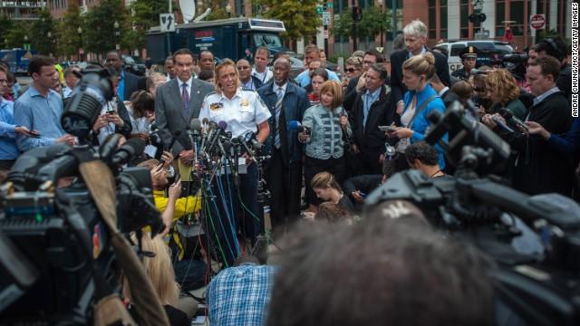 Washington Mayor Vincent Gray and Washington Police Chief Cathy Lanier speak to the media.