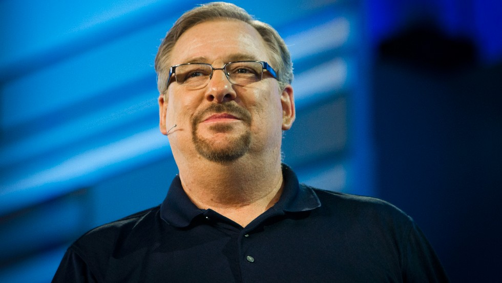 Pastor Rick Warren gives a sermon on Saturday, September 14, at Saddleback Church in Lakewood, California.